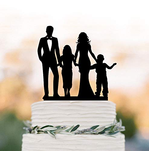 Arthuryerkes Family Wedding Cake Topper with Child Bride and Groom Silhouette with Boy and Girls Cake Topper Funny Cake Topper