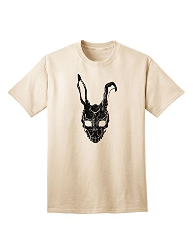 [TooLoud Scary Bunny Face Black Distressed Adult T-Shirt - Natural - Medium] (Frank The Bunny Costume High Quality)