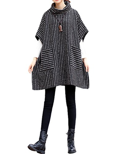 Mordenmiss Women's Turtleneck Sleeveless Vest Stripes Sweatshirt ()