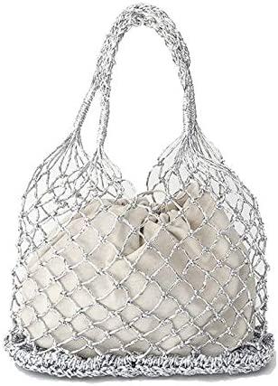 Coooi Strohtasche Gold Silber Schwarz 3 Farbe Helle Papierseile Hohle Gewebte Tasche Baumwolle Futter Strohsack Weiblich Retikulat Handtasche Netz Strandtasche
