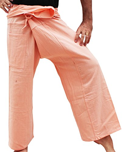 Orange Fisherman Pants - RaanPahMuang Plain Thick Muang Cotton Fisherman Wrap Tall Pants Plus, XX-Large, Peach Orange
