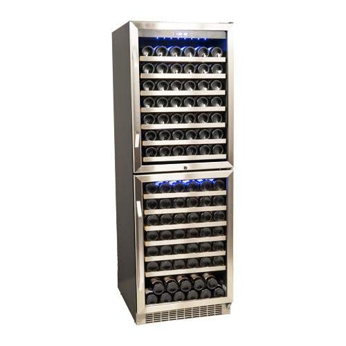 EdgeStar CWR1551DD 155 Bottle Double Door Dual Zone Built-In Wine Cooler - Black and Stainless Steel ()