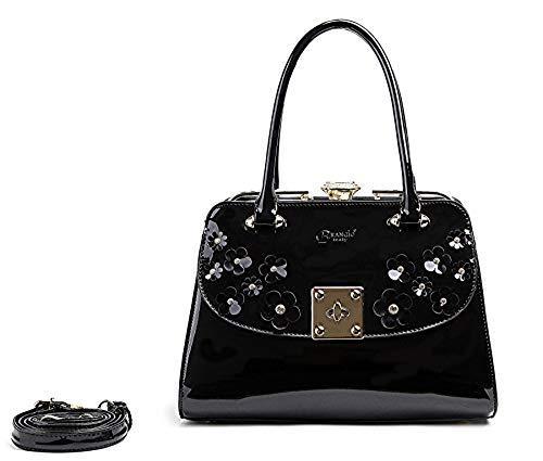 Sparkle Floral Tote - Brangio Floral Sparkle Deluxe Top Handle Carry-On Medium Tote Handbag Black