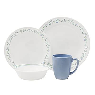 """Corelle Livingware 16-Piece Dinnerware Set, Country Cottage, Service for 4 - Service for 4 includes: 4 each 10-1/4"""" Dinner Plates, 6-3/4"""" Bread and Butter Plates, 18-Ounce Soup/Cereal Bowls, 11-Ounce Stoneware Mugs Made with break and scratch resistant patented Vitrelle glass technology Space saving design: lightweight and thin, yet extremely durable - kitchen-tabletop, kitchen-dining-room, dinnerware-sets - 41iusknpW0L. SS400  -"""