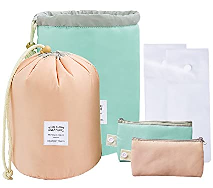2 Pack Travel Makeup Bags Waterproof Cosmetic Bags Multifunctional Bucket Toiletry Bag Make Up Organizer Barrel Cases Kit Storage Pocket Soft Collapsible, Portable Cosmetic Cases YHmall 079-BAG-1