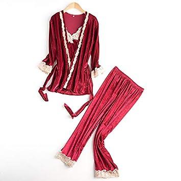NVYISHUI Los Pijamas de Terciopelo Dorado Mujer otoño e Invierno Sueltan un camisón de Servicio a