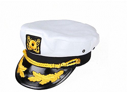 [OvedcRay Sailor Ship Yacht Boat Captain Hat Navy Marines Admiral Cap Hat White Gold Mc52] (Deer Deluxe Latex Mask)