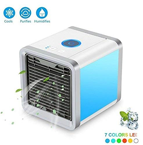 Air Cooler, Arctic Air, Personal Space Cooler, 3-in-1 Portable Mini Air Cooler, Humidifier & Purifier with 3 Speeds and 7 Colors LED Lights for Bedroom, Office Genieß den Sommer