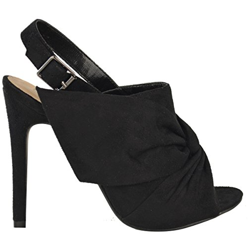 High Womens Sandals Peep Toe Fashion Bow Suede Knot Shoes Stilettos Black Heels Thirsty USA Faux qZw1n5Ef