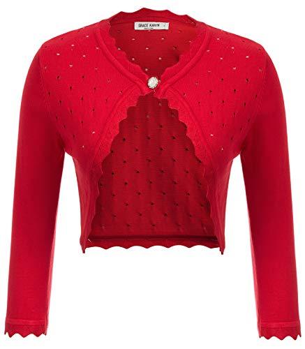 3/4 Sleeve Bolero Shrugs for Women Slim Fitted Petite Cropped Bolero Jackets Cardigan Red S
