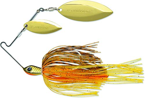 TERMINATOR Super Stainless Spinnerbait with Blades Willow/Willow in Gold/Gold, Pumpkin Seed, 3/8 oz