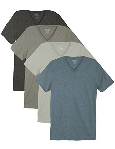 4 Pack Bolter Men's Everyday Cotton Blend V Neck Short Sleeve T Shirt