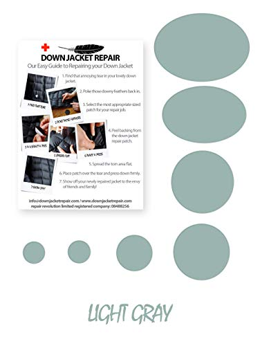 Down Jacket Repair Patch Kit (Self-Adhesive) 16 Colours (Light Gray) (Covers Furniture Outdoor Nz)