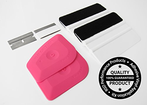 RSD Professional Film & Vinyl Application Kit Includes 2 Premium Quality Felt Squeegees, 2 Lil Chizlers, and 2 Single Edge Razor Blades (Multipack) (Felt Squeegee)