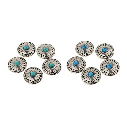 10 Pieces Rivets Button with Turquoise Beads Screw Back for Leather Craft