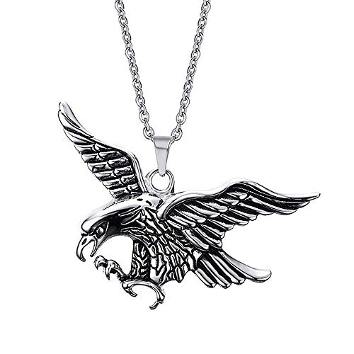 ATDMEI American Eagle Pendant Necklace for Men Women Stainless Steel Vintge Gothic Jewelry Gifts ()