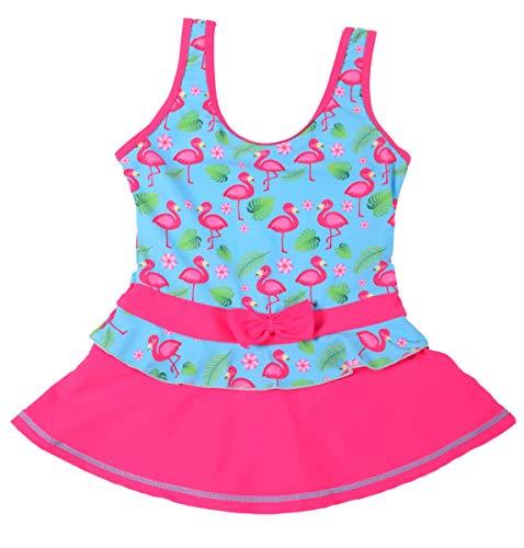 Toddler Kids Girls One Piece Swimsuit,Flamingos Pattern Pleated Princess Dress Swimwear (Blue, Tag 116/3-4T)