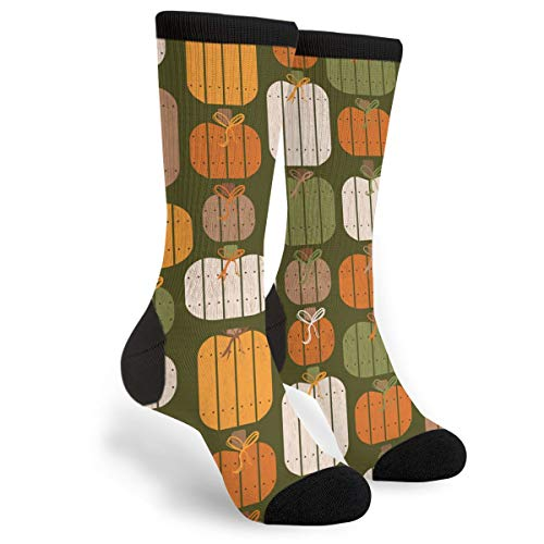 Fashion Travel Breathable Socks Rustic Wood Pumpkins Green Men & Women Running Casual Socks