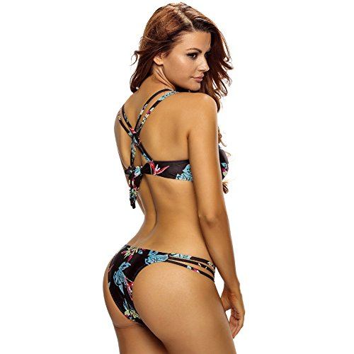 CHZY bikini traje de baño partido de cordones impresos a