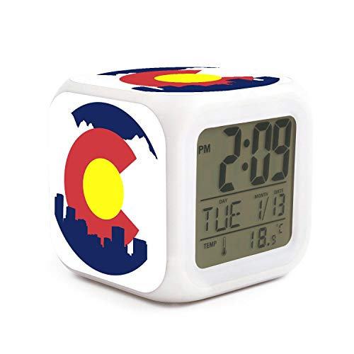 - BIAOSD Digital Alarm Clocks Kids Rocky Mountain Colorado LED Night Glowing Cube LCD Clock Bedroom Bedside Clocks