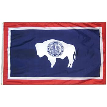 Wyoming State Flag 3x5 ft. Nylon SolarGuard Nyl-Glo 100% Made in USA to Official State Design Specifications by Annin Flagmakers.  Model 146160