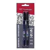 Tombow 62038 Fudenosuke Brush Pen, paquete de 2. Plumas de pincel Fudenosuke de punta suave y dura para caligrafía y dibujos de arte