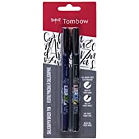 Tombow 62038 Fudenosuke Brush Pen, 2-Pack. Soft and Hard...