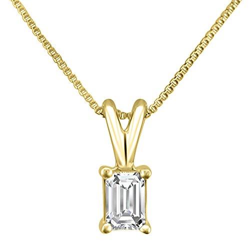 14k Yellow Gold Emerald-cut Diamond Solitaire Pendant Necklace (1/4 cttw, H-I, VS2-SI1)