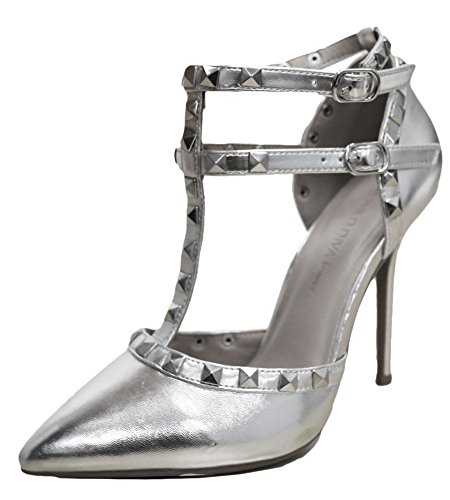 T Diva Silver Strap Ankle Sandal Womens Stiletto Gold Strappy Pointy Wild Stud Pump Toe Heel f1fw8