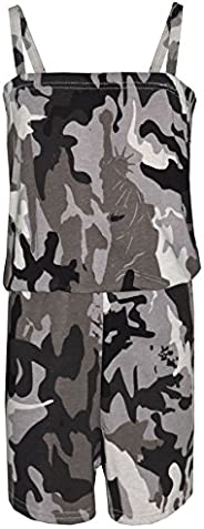 Girls Playsuit Kids Designer's Camouflage Print All in One Jumpsuit 5-13 Y