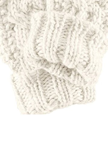 3R Fashion Women's Wool Blend Cable Knitted Mitten Twisted Stretchy Winter Golves BEIGE
