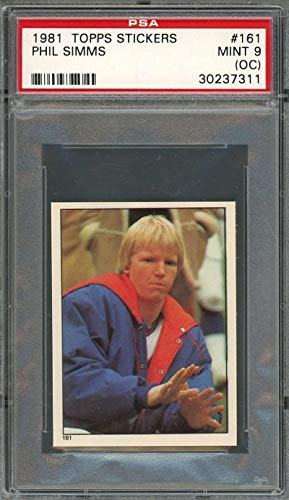 - 1981 topps stickers #181 PHIL SIMMS new york giants (2nd year card) PSA 9 OC Graded Card