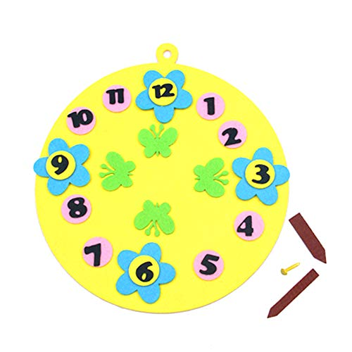 XWU DIY Craft Material Clock Applique Ornament Kit Home Wall Hanging Decoration Early Childhood Education Toys