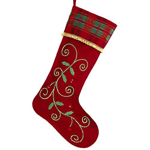 Valery Madelyn 21 inch Traditional Holly Leaves Christmas Stockings with Red Green Tartan Cuff, Themed with Tree Skirt (Not Included)