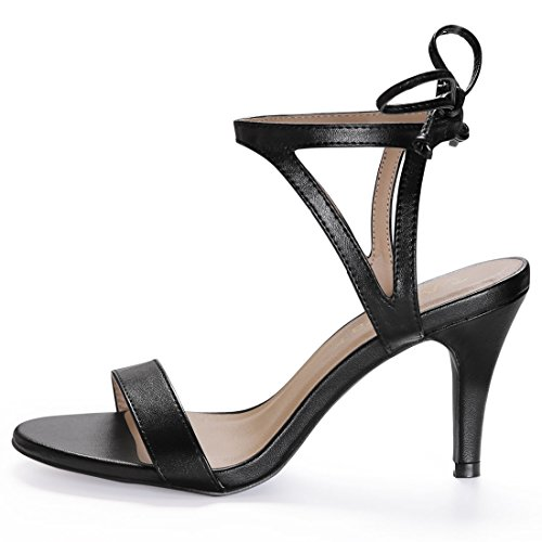 Caviglia 7 Punta Stiletto Donne Sandali K US Ritagliata Aperta Allegra Nero Lati Cravatta xfYR7qww