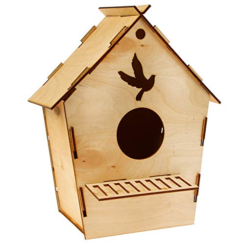 Red Cube Beige Wooden Bird House | Nesting Box & Garden Decoration for Small Birds | Outdoors Feeder for Birds Robin Sparrow Wren by Red Cube