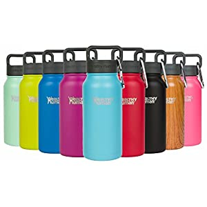 Healthy Human Stainless Steel Insulated Travel Sports Water Bottle Thermos - Leak Proof - No Sweating, Keeps Your Drink Hot & Cold - Glacier - 16 oz