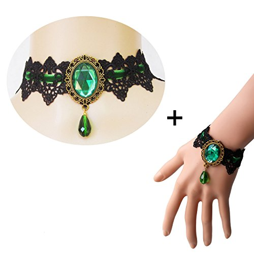 Youniker Retro Handmade Choker Necklace and Bracelet Jewelry Set for Halloween Costume Party Women Gothic Black Lace Necklace Punk Royal Court Vampire Choker Pendant Chain(Green)