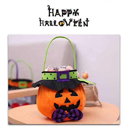 Vegan 1 Halloween Candy Bags, Trick or Treat Candy Tote Bags Cartoon Pumpkin Bag for Kids Halloween Themed Party Gift Favor, 4 Styles -