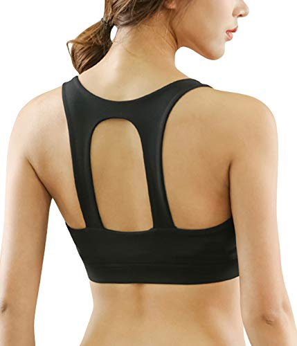 Snailify Women's Sports Bra Racerback Full Coverage High Impact Long Line Wireless Fake Two Piece Multi-Way Bra - Yoga Gym Workout