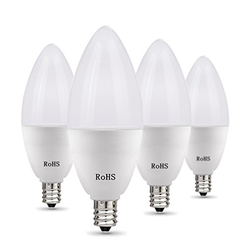 BATHEBRIGHT E12 Light Bulb, Candelabra LED Bulbs 6W Equivalent,60 Watt Daylight White 5000k LEDs Chandelier Non-Dimmable LED Lamp,4 Pack Decorative