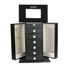 HUGE BLACK LEATHER JEWELRY BOX / CASE / STORAGE w/key