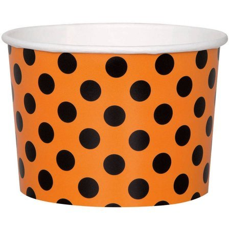 9-Ounce Orange and Black Polka Dot Halloween Paper Ice Cream Cups, 40-Count
