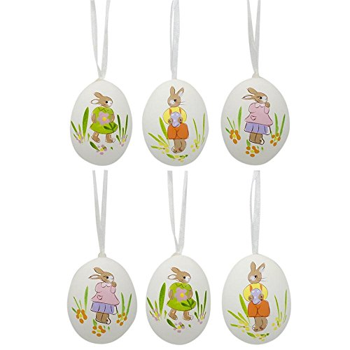 "BestPysanky 2.5"" Set of 6 Real Eggshell Hand Painted Bunny E"