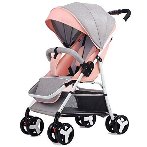 0-3 Years Old Baby Stroller Ultra Light Portable can sit Reclining Folding Trolley Baby Umbrella high Landscape Baby Stroller (Pink)