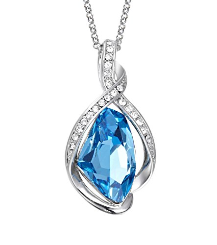 NEVI Designer Party & Daily Wear Swarovski Crystals Rhodium Plated Princess Pendant Chain Jw