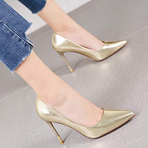 HRCxue Pumps Mode Spitze Stiletto Heels vielseitige Flache dünne einzelne Schuhe Arbeitsschuhe weiblich, 34, Gold
