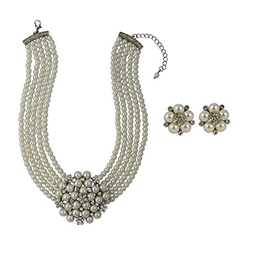Audrey Necklace & Audrey Glass Pearl Clip Earring with Gift Box