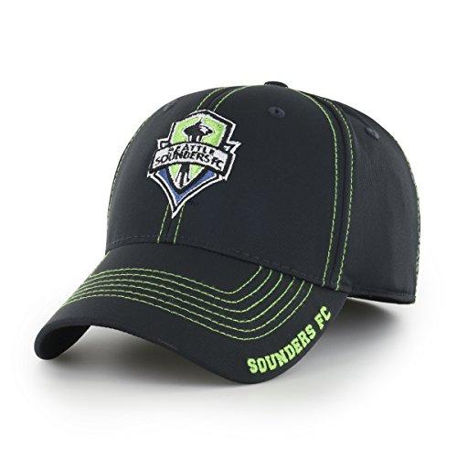 OTS MLS  Seattle Sounders FC Adult Start Line  Center Stretch Fit Hat, Medium/Large, Black