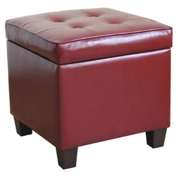HomePop N5762 E607 Square Tufted Leatherette Storage Ottoman, Red